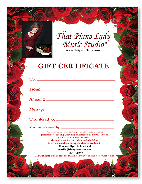 That Piano Lady Gift Certificate